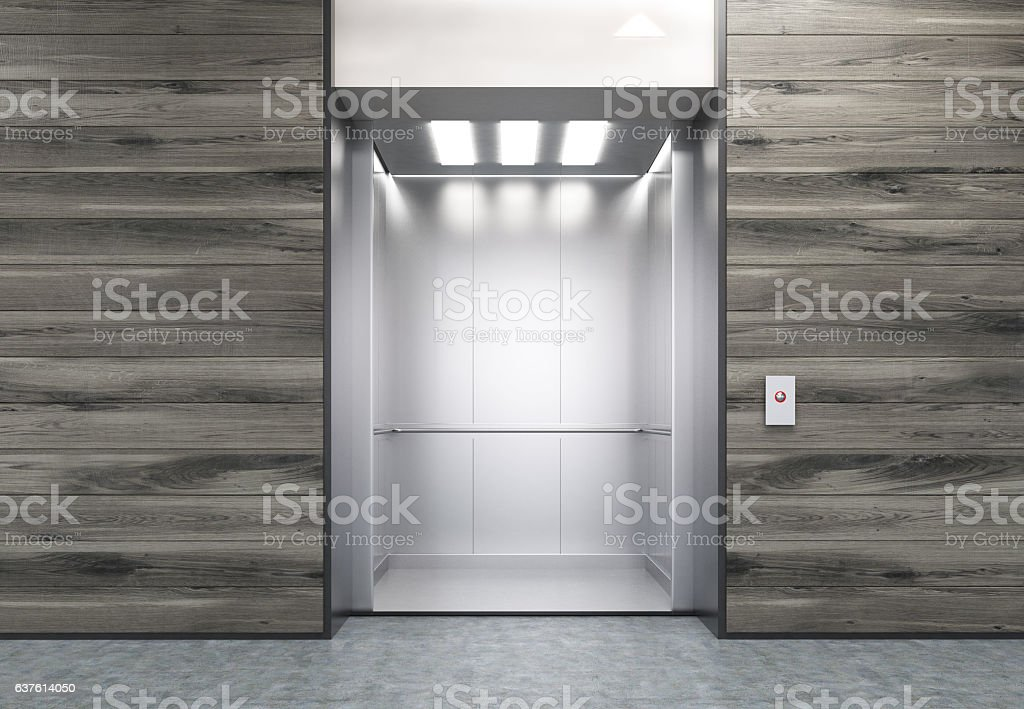 Open elevator in wooden wall stock photo