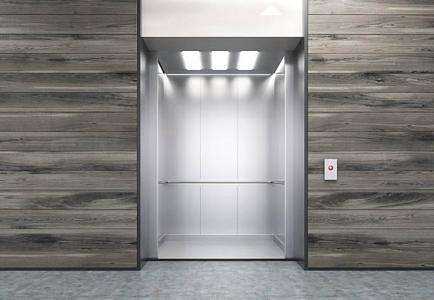 Open elevator in wooden wall – Foto