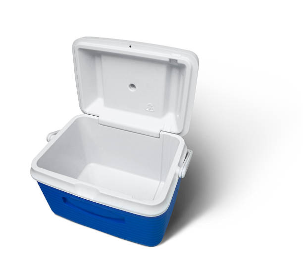 Open empty cooler on a white background Isolated empty cooler with clipping path cooler container stock pictures, royalty-free photos & images