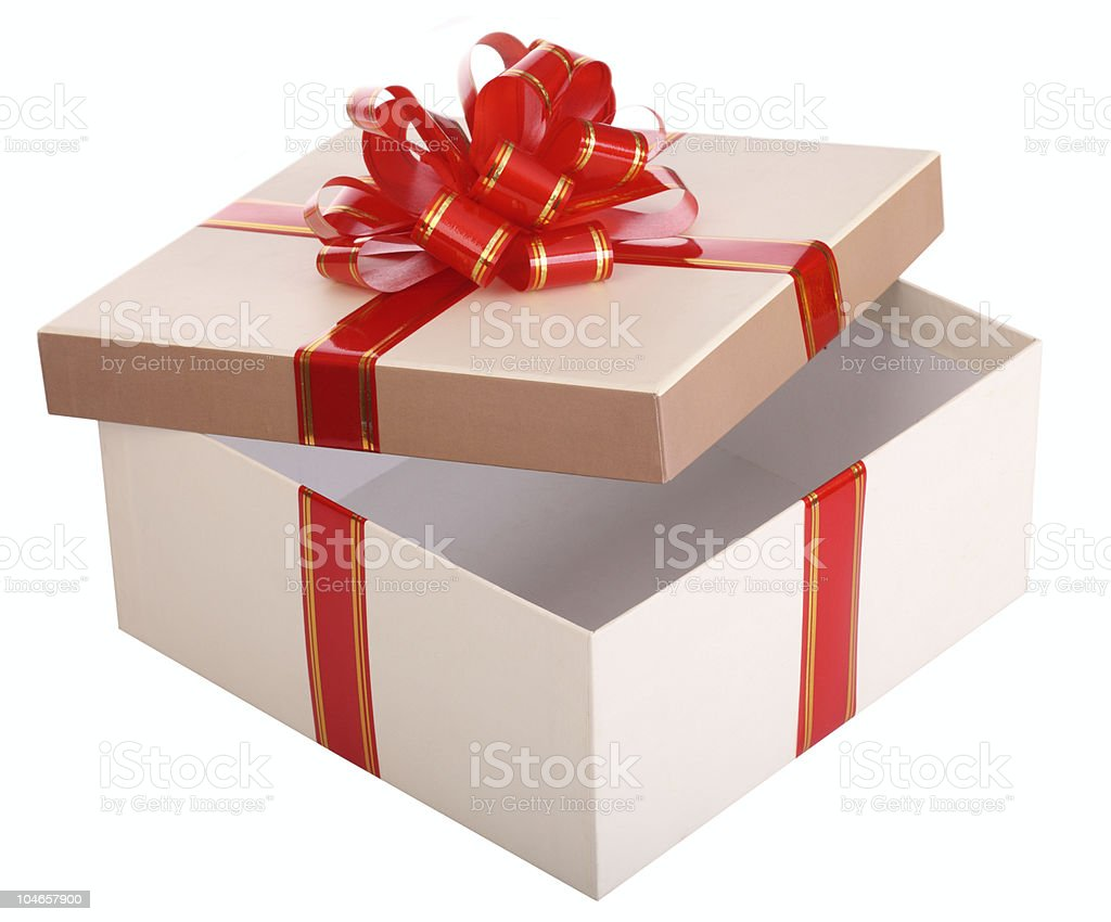 Open empty gift box and red bow. royalty-free stock photo