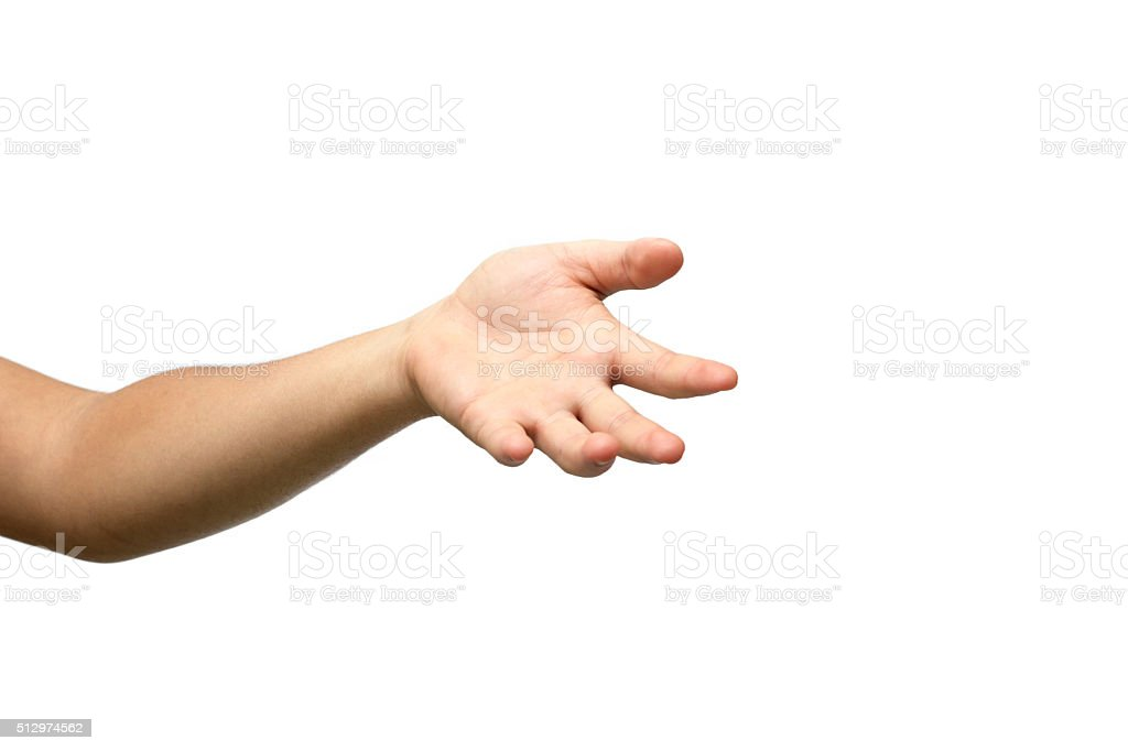 open empty hand isolated on white background stock photo