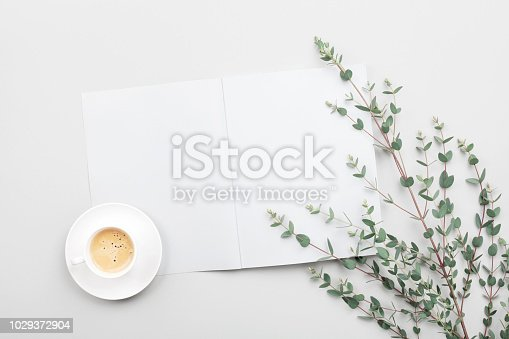 Open empty notebook, cup of coffee and eucalyptus leaves on gray table top view. Minimalistic working desk. Flat lay styling.