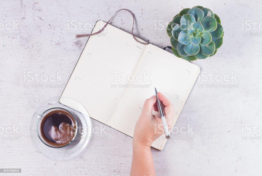Open empty notebook stock photo