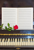 open empty notes paper  on vintage piano