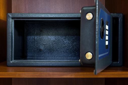 Open empty safe box