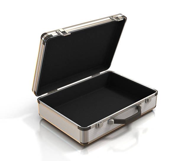 open empty suitcase stock photo