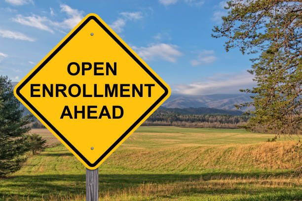 open enrollment ahead warning sign - open enrollment stock photos and pictures