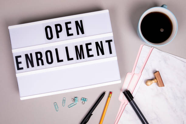 open enrollment concept. white lightbox - open enrollment stock photos and pictures