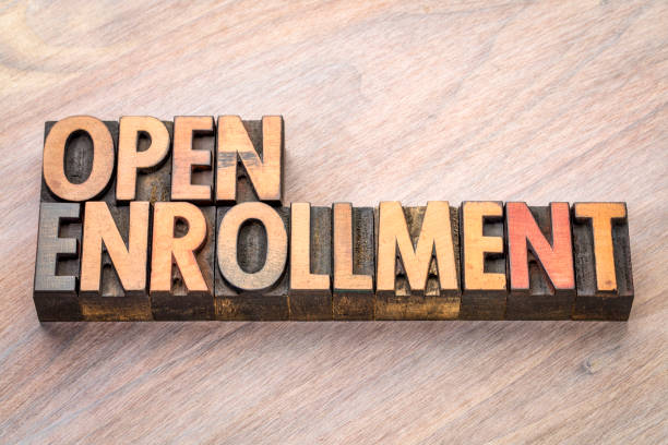 open enrollment word abstract in wood type - open enrollment stock photos and pictures