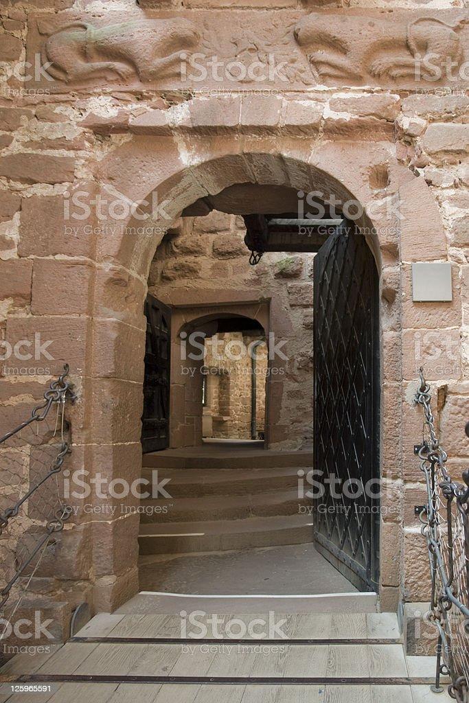 open entrance at Haut-Koenigsbourg Castle royalty-free stock photo