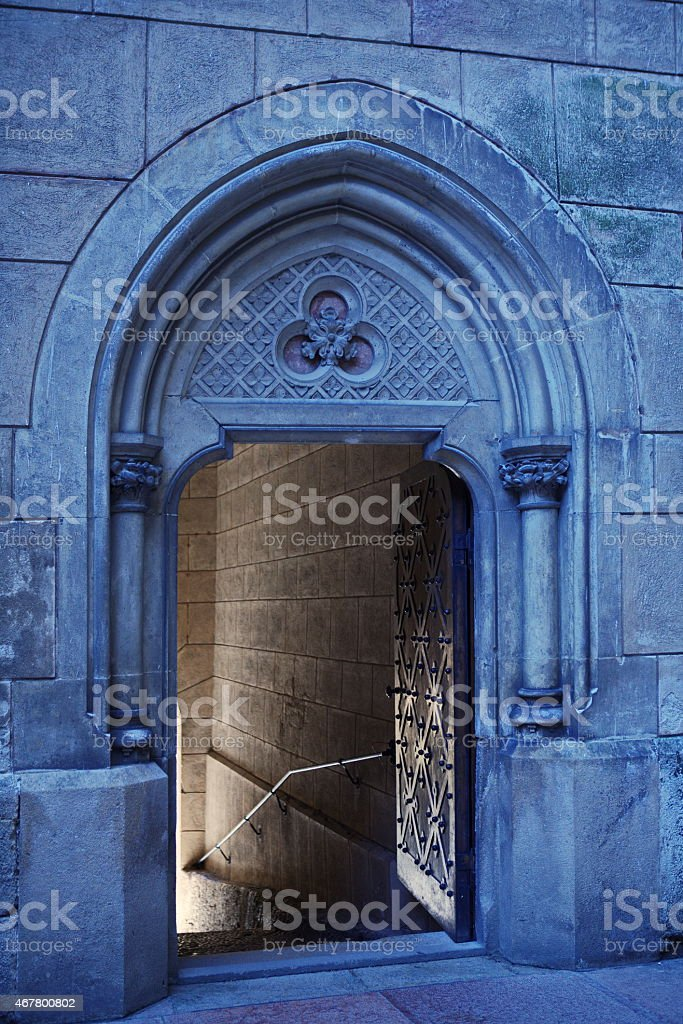 open entrance to gothic castle royalty free stock photo
