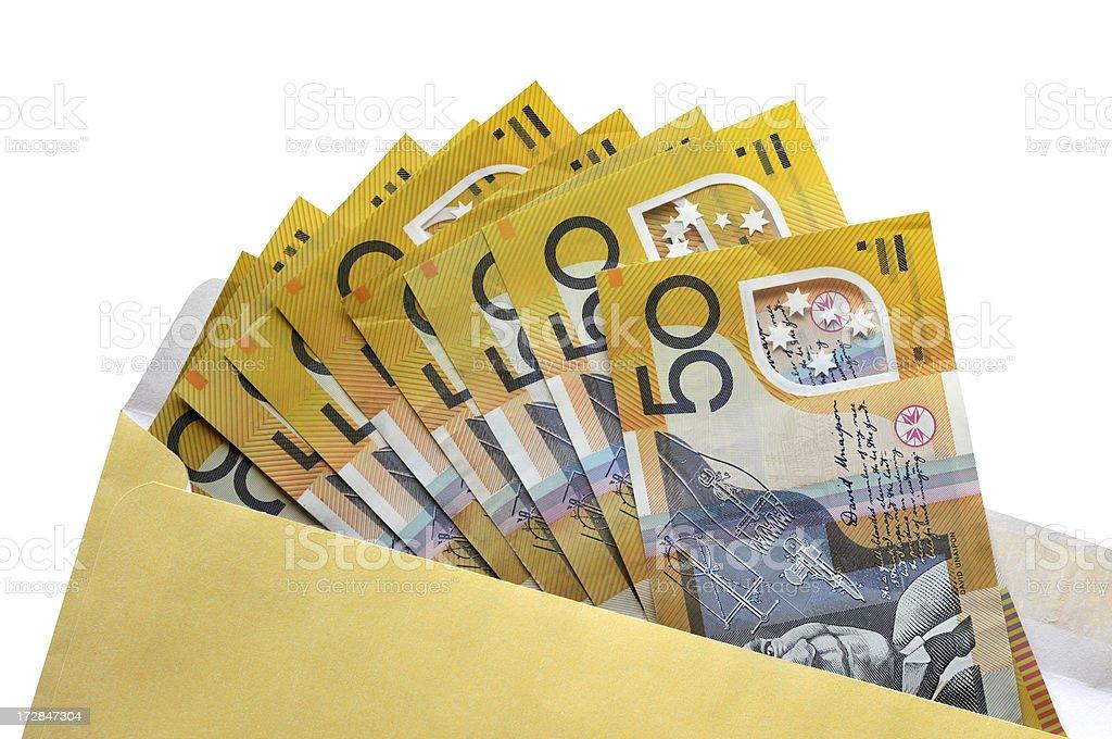 Open envelope of Australian fifty dollar notes stock photo