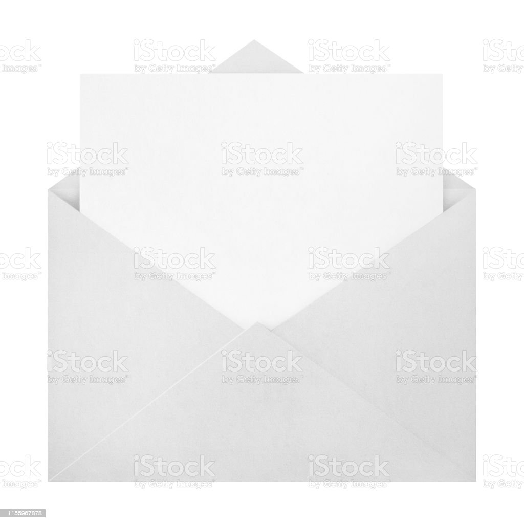 Open Envelope With A Blank Paper Inside On White Stock