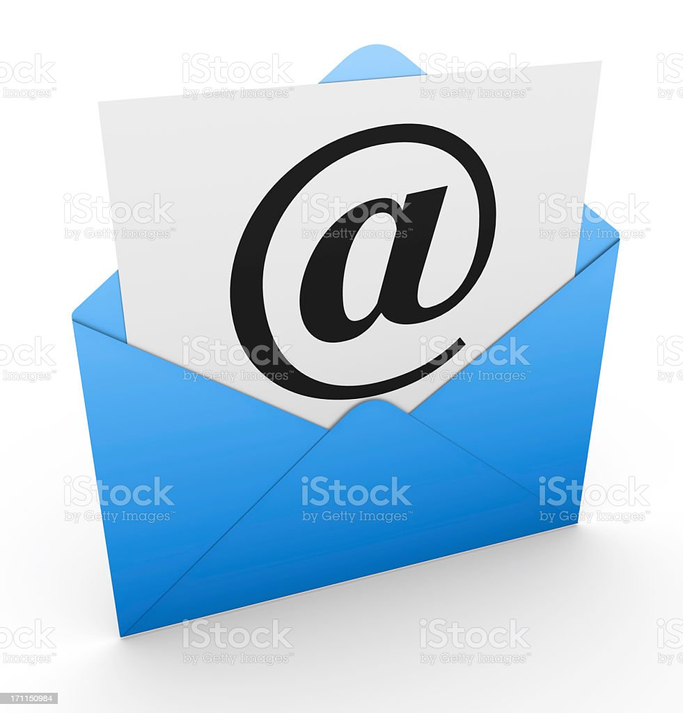 Open envelope with @ sign in a white letter stock photo
