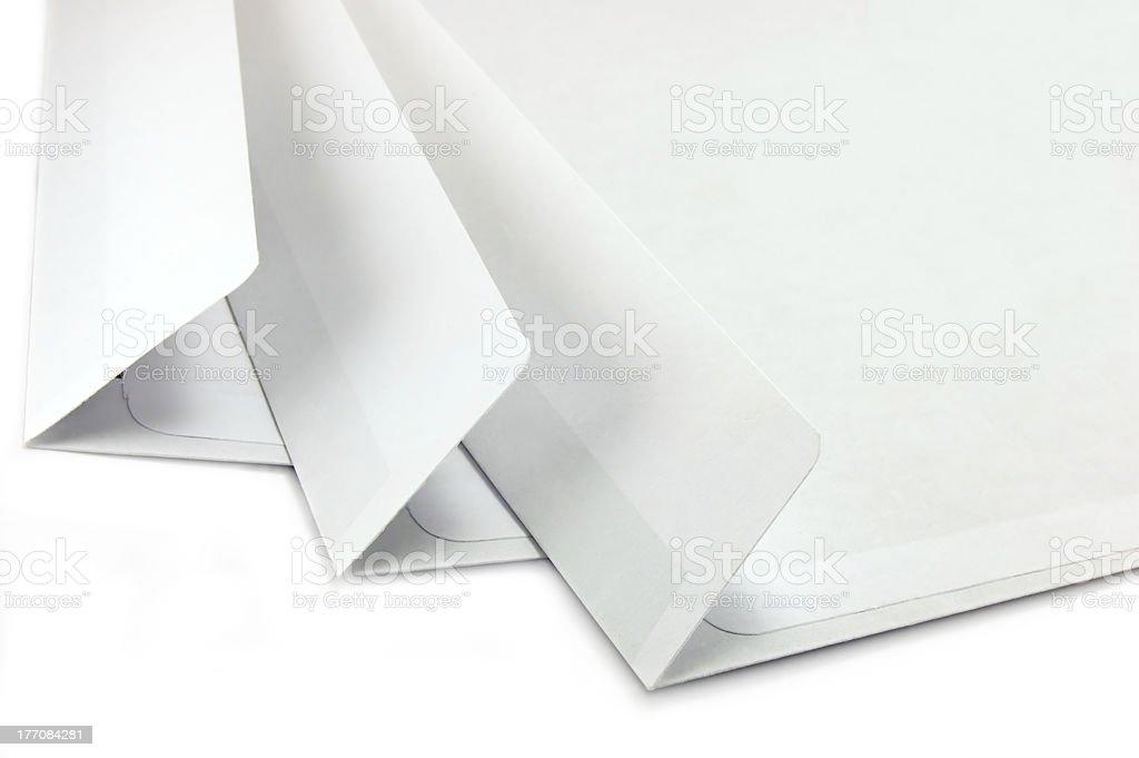 Open Envelopes Isolated Macro Closeup Large White Copy