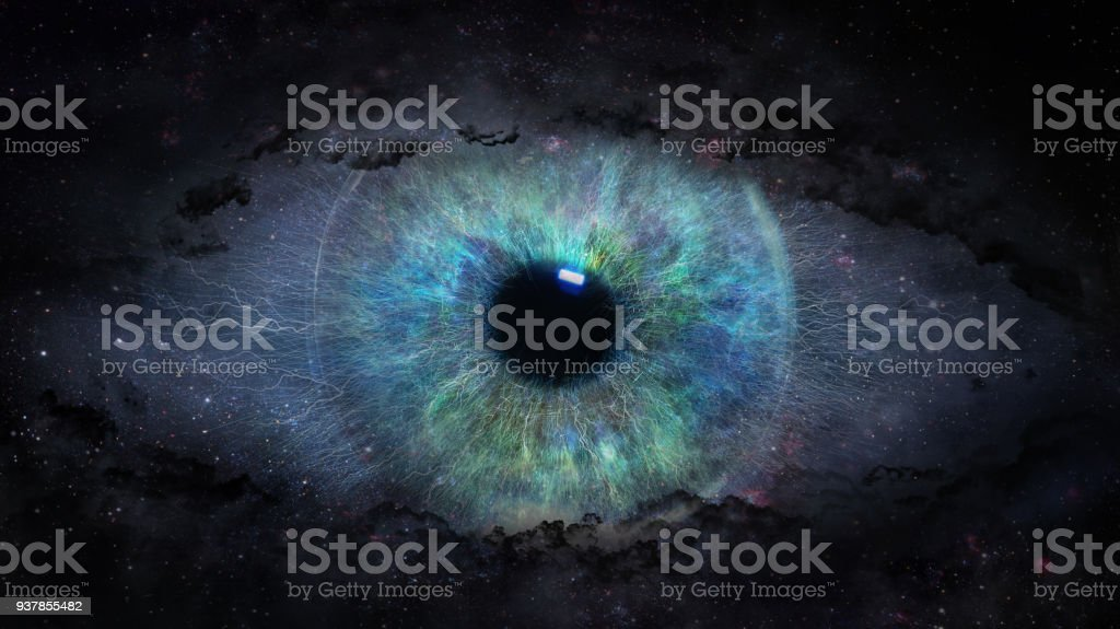 open eye in space royalty-free stock photo