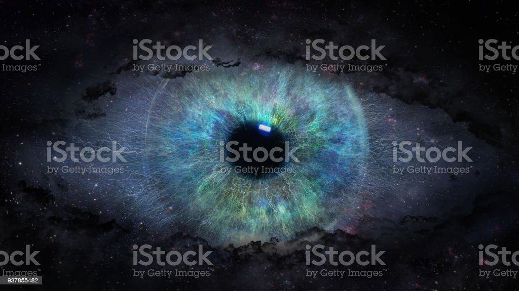 open eye in space stock photo