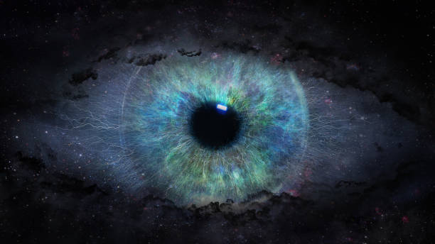 open eye in space open eye in space iris eye stock pictures, royalty-free photos & images