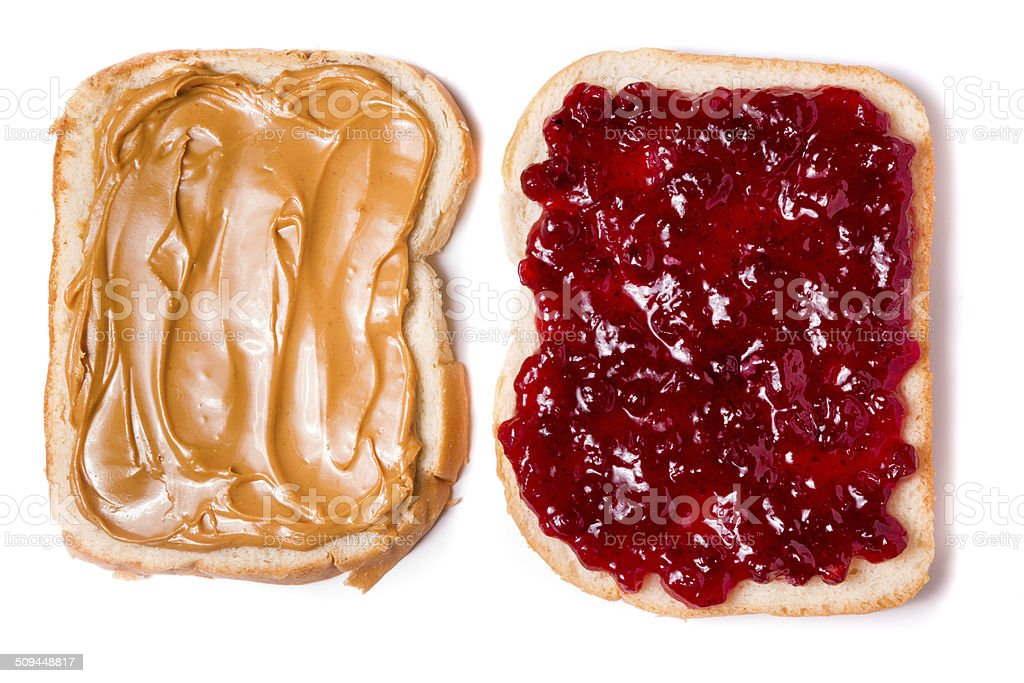 Open Face Peanut Butter and Jelly Sandwich stock photo