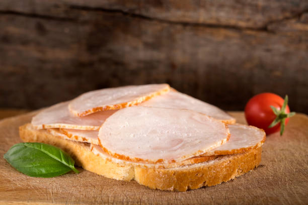 Open faced chicken ham sandwich stock photo