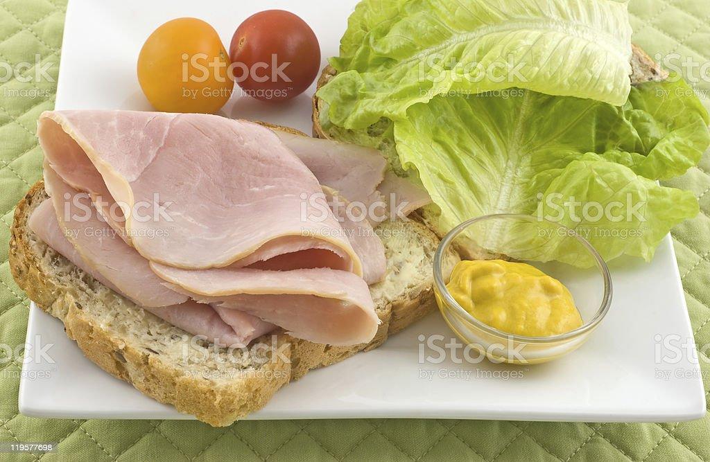 Open faced ham sandwich stock photo