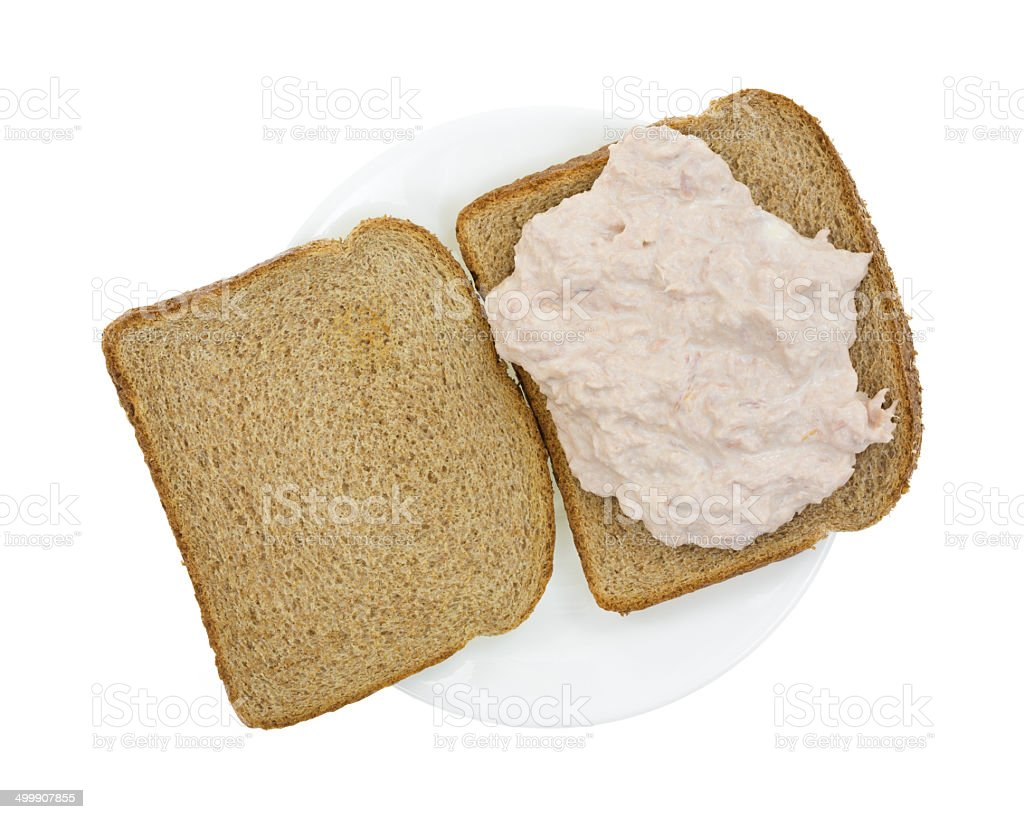 Open faced tuna sandwich on plate stock photo