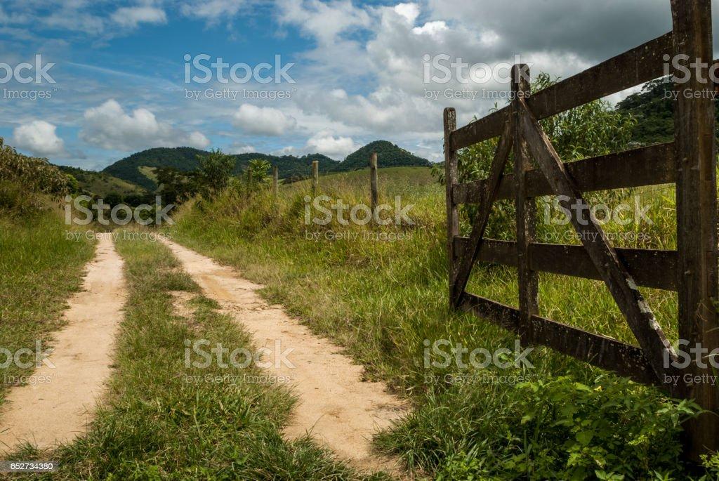 Open farm gate, welcome, Minas Gerais, Brazil stock photo