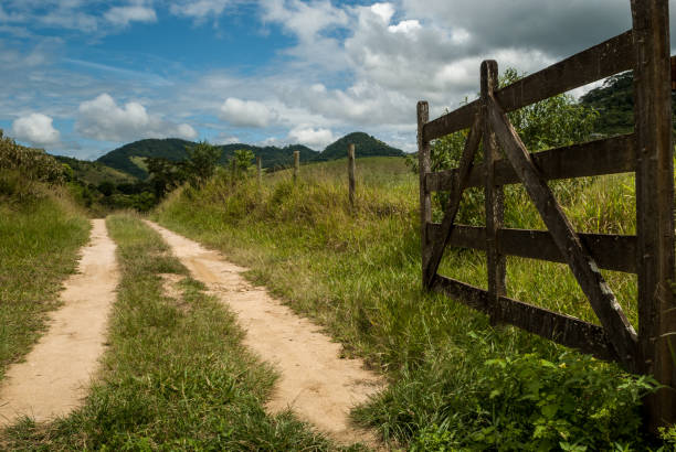 open farm gate, welcome, minas gerais, brazil - open gate stock photos and pictures