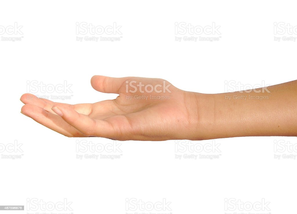 Open female palm or hand begging isolated on a white stock photo