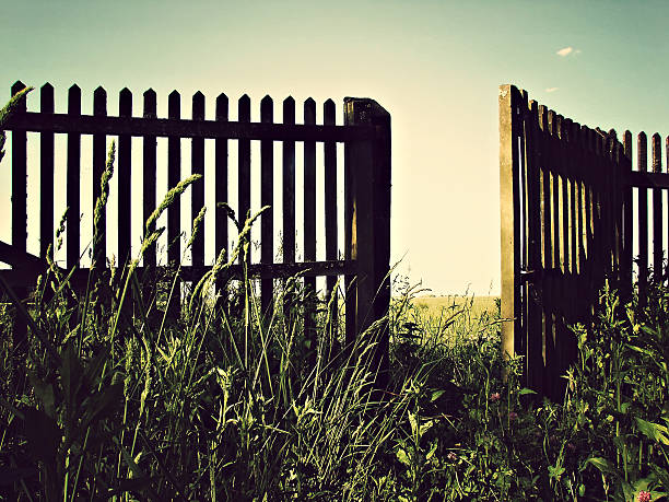 open fence - open gate stock photos and pictures