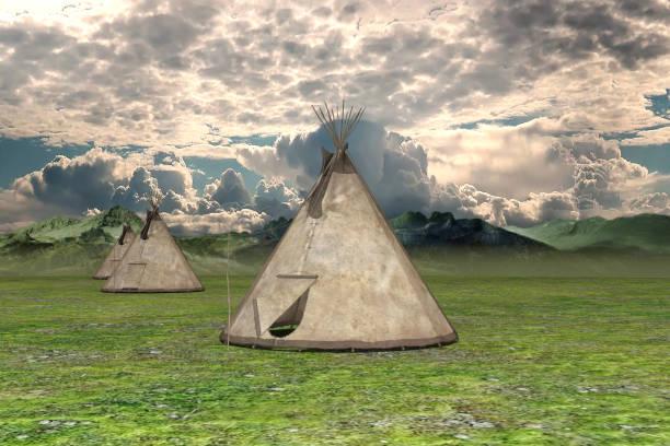 freiland mit indischen tipis, 3d rendering. - weidentipi stock-fotos und bilder