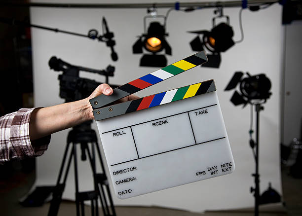 Open film slate on set stock photo