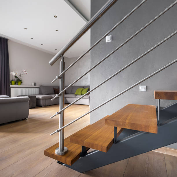 Open floor apartment with staircase stock photo