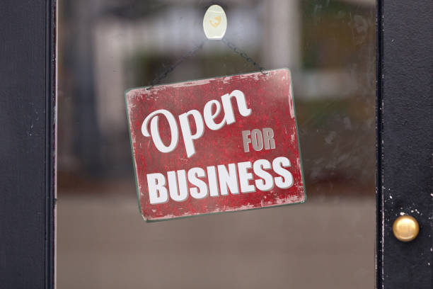 Open for business sign stock photo