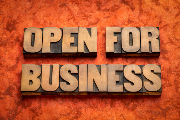 open for business word abstract in wood type stock photo