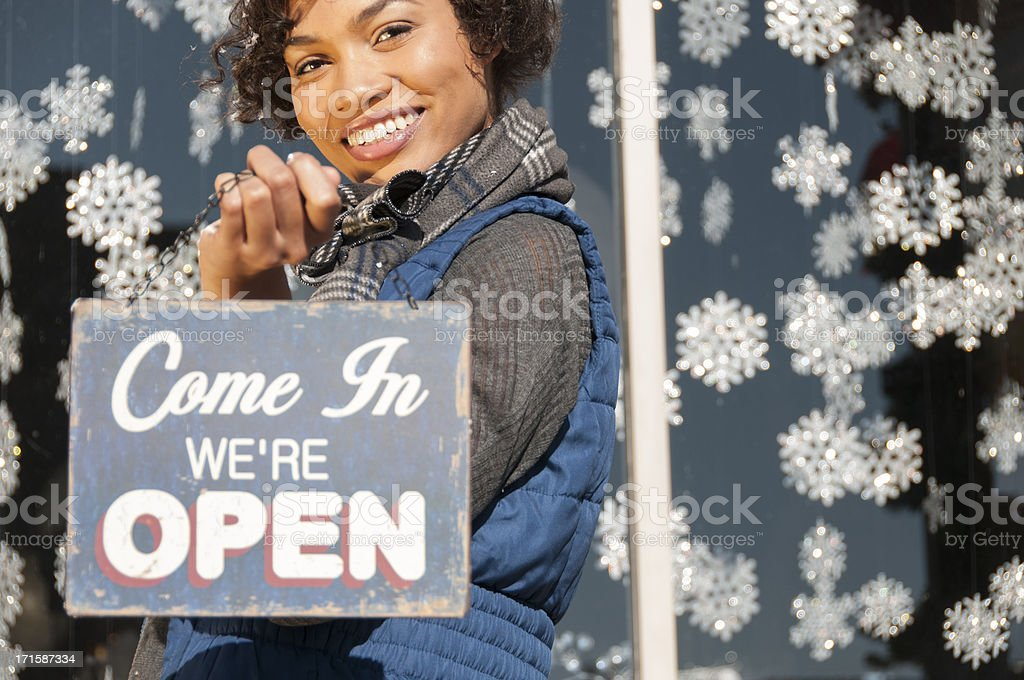Open for Holiday Business royalty-free stock photo