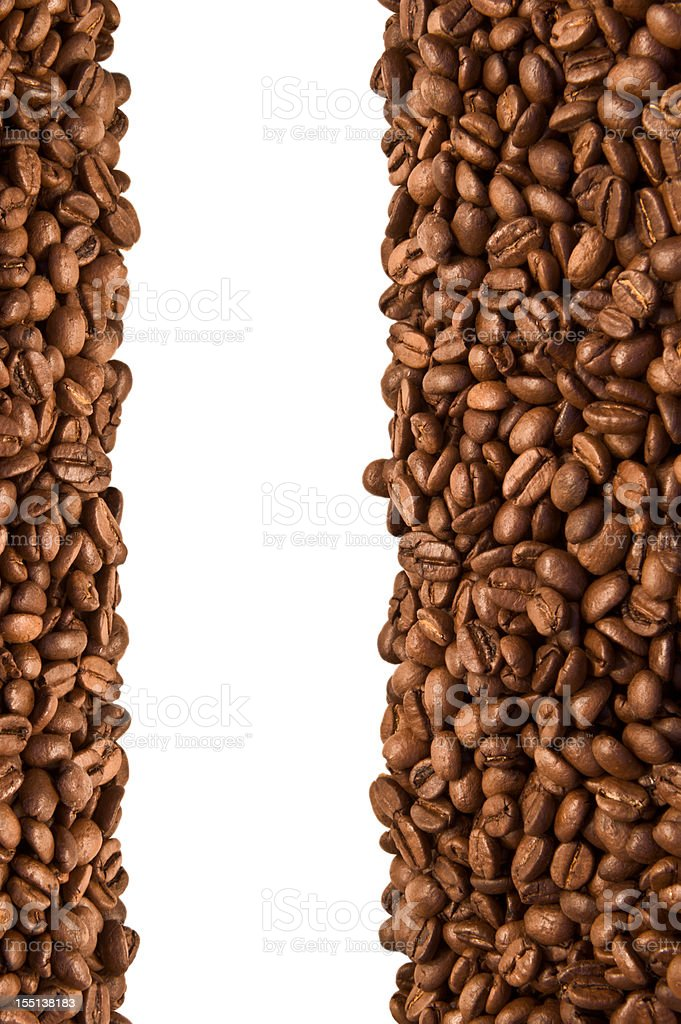Open frame made of roasted coffee beans, isolated on white royalty-free stock photo