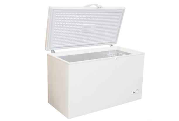 Open freezer isolated stock photo