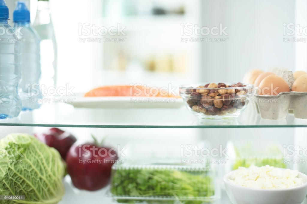 Open Fridge Full Of Fresh Fruits And Vegetables Healthy Food