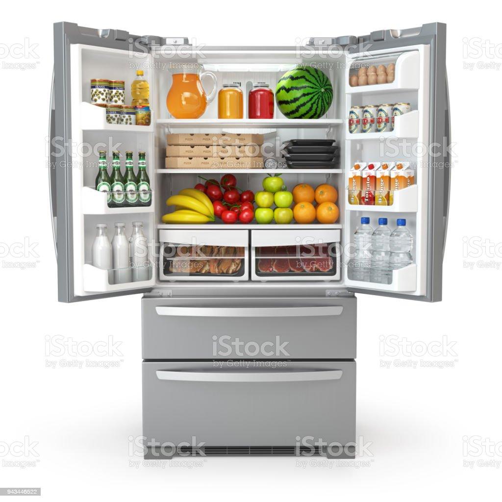 Offenen Kühlschrank Kühlschrank Voller Essen Und Getränke Isoliert ...