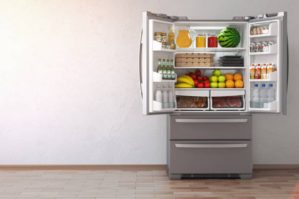 Open fridge  refrigerator full of food in the empty kitchen interior. Open fridge  refrigerator full of food in the empty kitchen interior. 3d Illustration fridge stock pictures, royalty-free photos & images