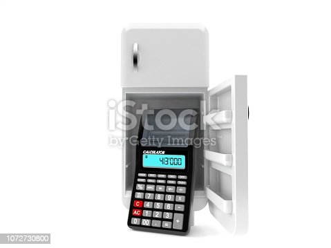 istock Open fridge with calculator 1072730800