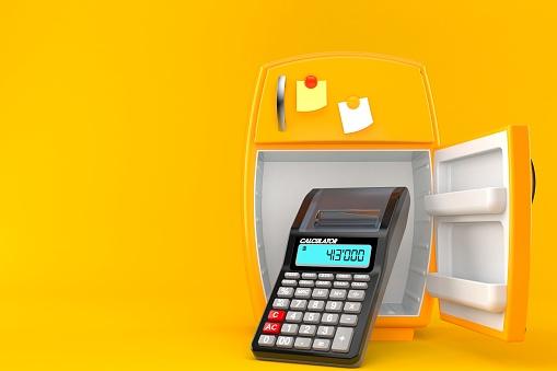 istock Open fridge with calculator 1169410590