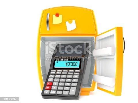 istock Open fridge with calculator 938388970