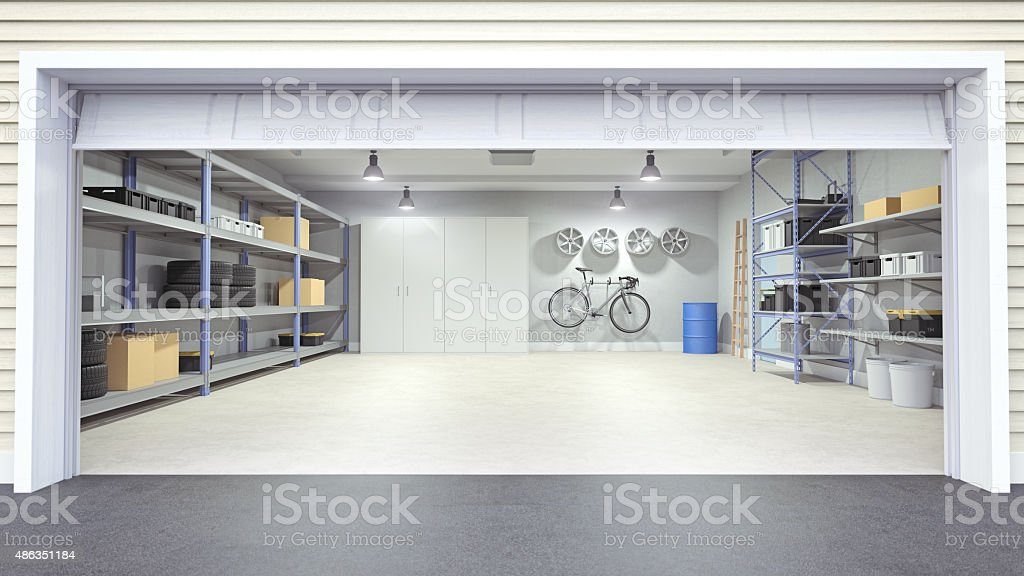 Open garage interior stock photo istock How much to build a new garage