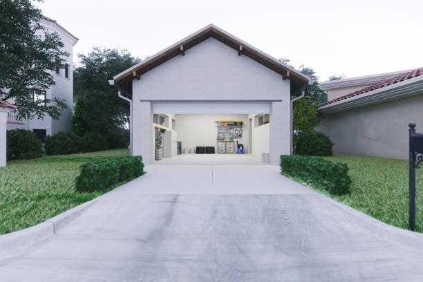 offene garage mit betoneinfahrt - offen allgemeine beschaffenheit stock-fotos und bilder