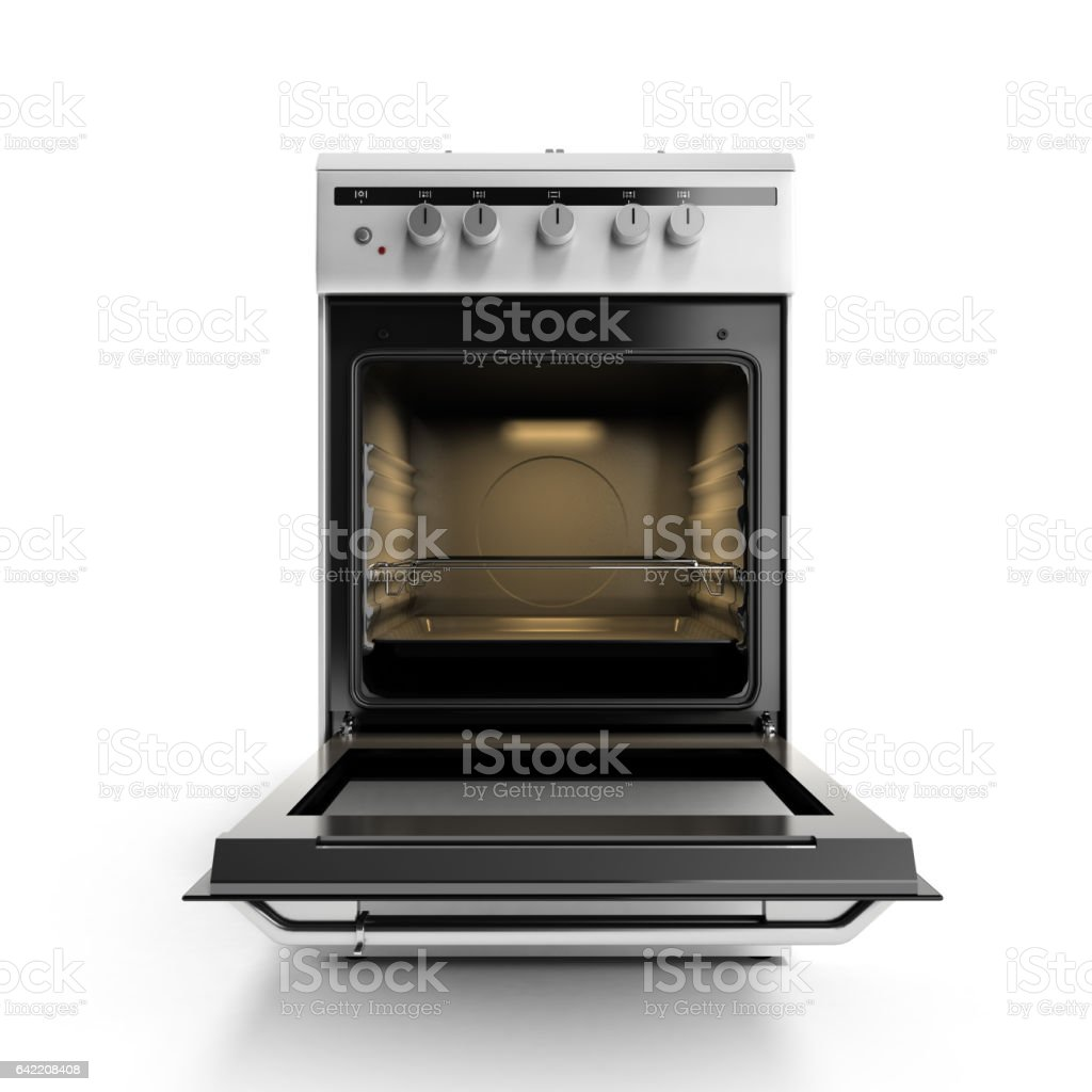 open gas stove 3d render isolated on a white background stock photo