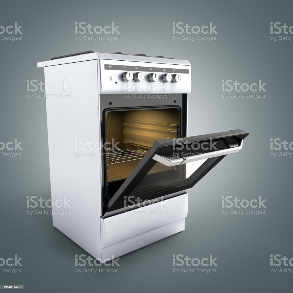 open gas stove 3d render on grey background stock photo