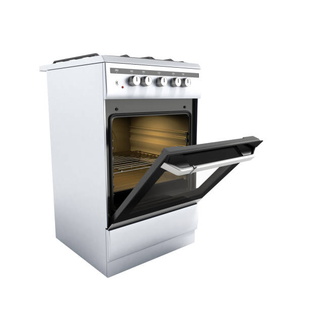 open gas stove 3d render on white background no shadow stock photo