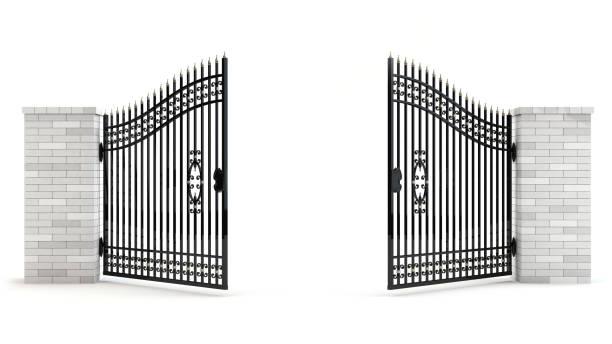 open gate, 3d illustration - portão imagens e fotografias de stock
